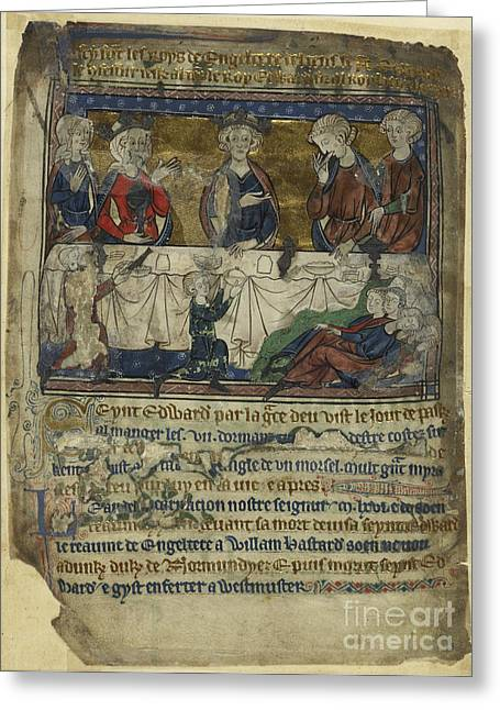 Banquet Greeting Cards - Edward The Confessor At Table Greeting Card by British Library