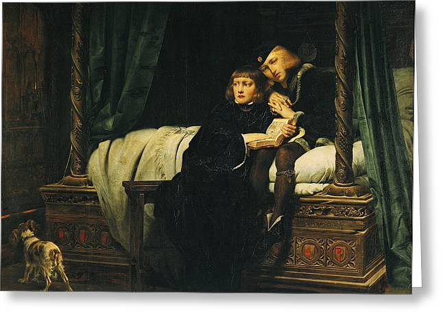 Child Posters Greeting Cards - Edward V 1470-83 And Richard, Duke Of York In The Tower Les Enfants Dedouard 1830 Oil On Canvas See Greeting Card by Hippolyte Delaroche