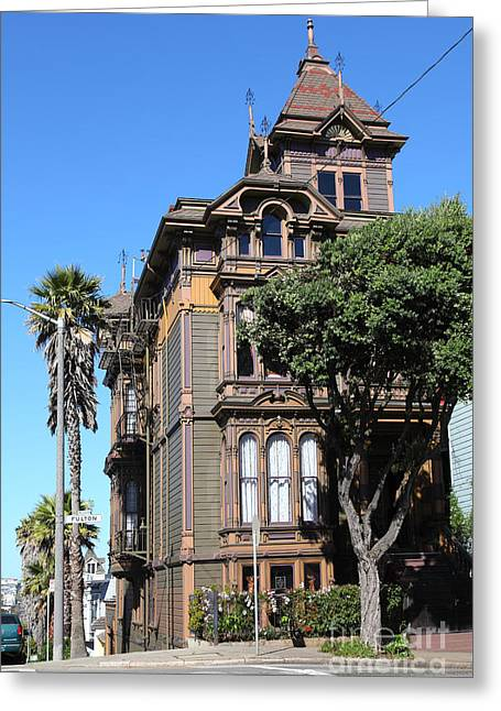 Edwardian Greeting Cards - Edwardian Architecture At Alamo Square San Francisco California 5D28002 Greeting Card by Wingsdomain Art and Photography