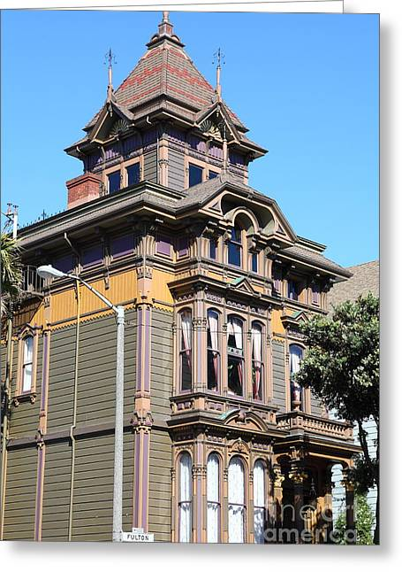 Edwardian Greeting Cards - Edwardian Architecture At Alamo Square San Francisco California 5D28005 Greeting Card by Wingsdomain Art and Photography