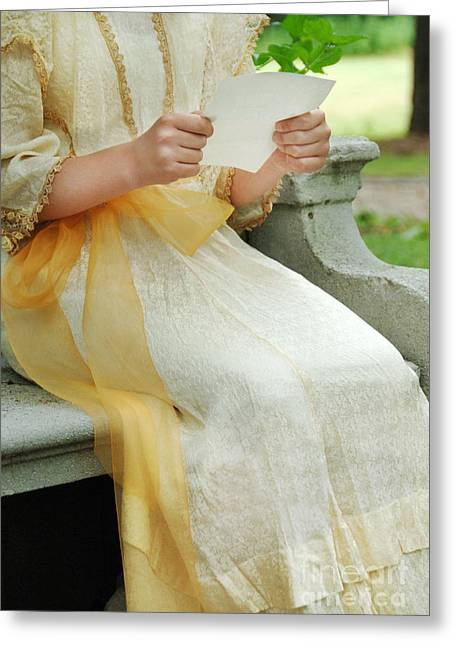 Reading The Paper Greeting Cards - Edwardian Girl Reading a Letter Greeting Card by Jill Battaglia