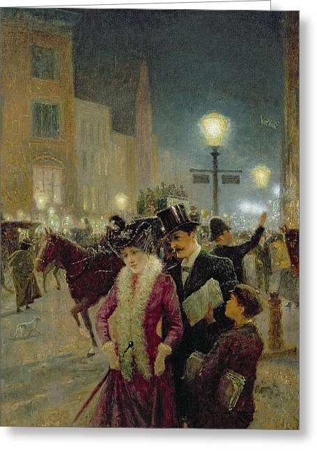 Night Lamp Greeting Cards - Edwardian London Greeting Card by Eugene Joseph McSwiney