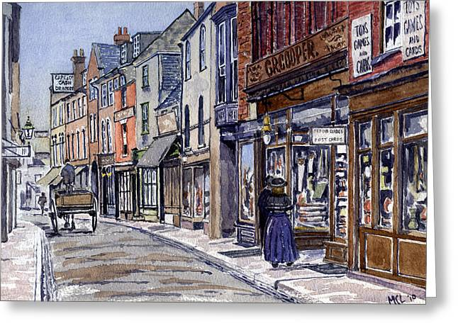 Grocery Store Greeting Cards - Edwardian St.Ebbes Oxford Greeting Card by Mike Lester