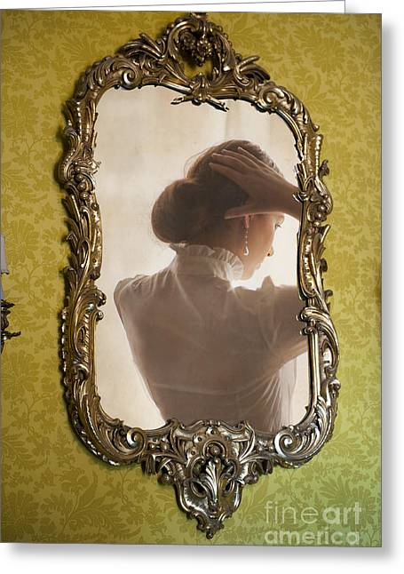 Gold Earrings Greeting Cards - Edwardian Woman Styling Her Hair In The Mirror Greeting Card by Lee Avison