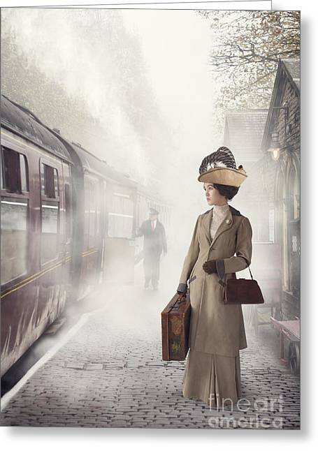 Full Skirt Greeting Cards - Edwardian Woman Waiting To Board A Steam Train Greeting Card by Lee Avison