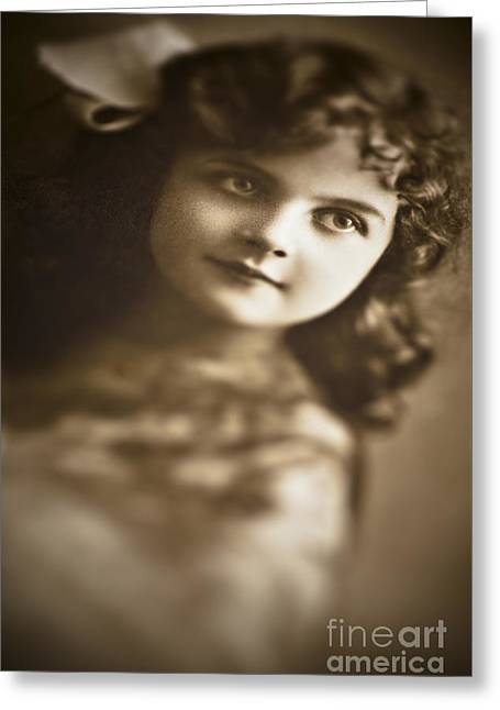 1900s Greeting Cards - Edwardian Young Girl Greeting Card by Jan Bickerton