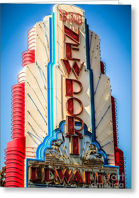 Orange Photos Greeting Cards - Edwards Big Newport Theatre Sign in Newport Beach Greeting Card by Paul Velgos