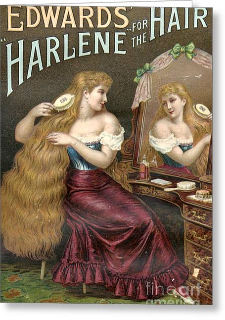 WomenÕs Drawings Greeting Cards - Edwards Harlene For Hair 1890s Uk Hair Greeting Card by The Advertising Archives