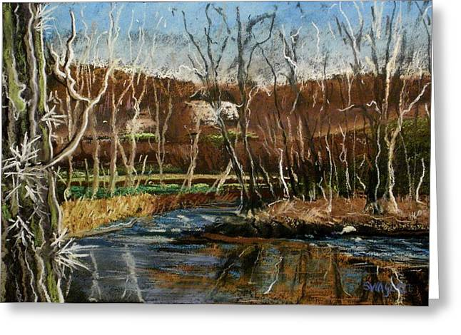Rapids Pastels Greeting Cards - Eel River  Island Greeting Card by Tim  Swagerle