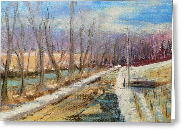 Puddle Pastels Greeting Cards - Eel River Road Greeting Card by Tim  Swagerle