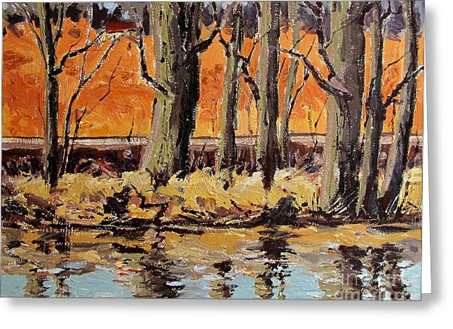 Indiana Landscapes Paintings Greeting Cards - Eel River Tow Path Greeting Card by Charlie Spear