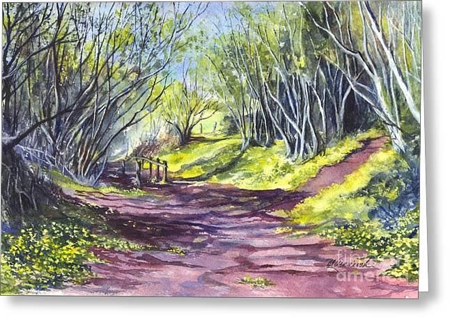 Forest Floor Drawings Greeting Cards - Taking A Walk Down A Spring Lane Greeting Card by Carol Wisniewski