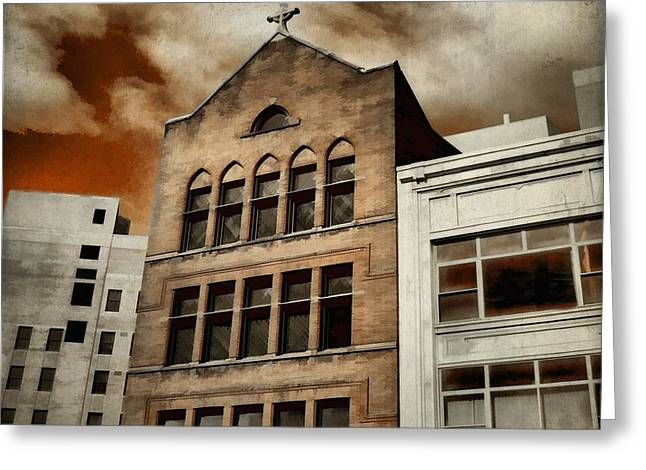 Paint Effect Greeting Cards - Eerie City Sky Greeting Card by Gothicolors Donna Snyder