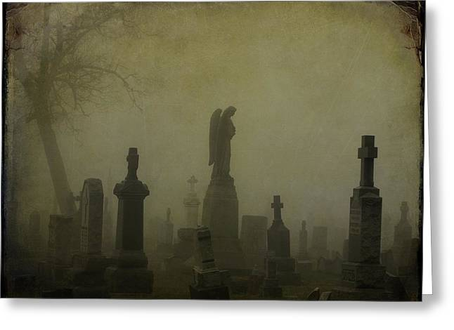 Thick Fog Greeting Cards - Eerie Darkness In The Fog Greeting Card by Gothicolors Donna Snyder