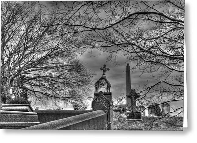 Ominous Greeting Cards - Eerie Graveyard Greeting Card by Jennifer Lyon
