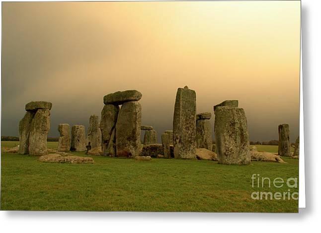 Eerie Stonehenge Greeting Card by Deborah Smolinske