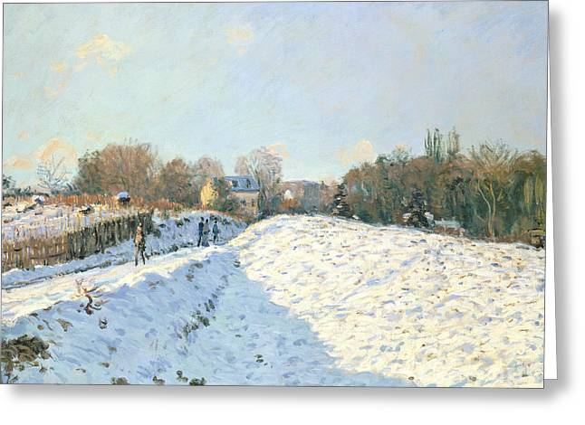 Winter Roads Greeting Cards - Effect of Snow at Argenteuil Greeting Card by Alfred Sisley