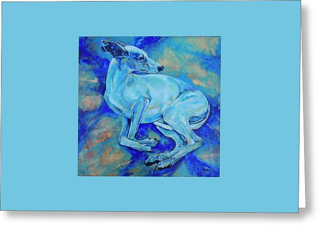 Greyhound Dog Greeting Cards - Effects of gravity-2 Greeting Card by Derrick Higgins