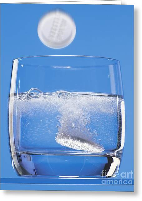 Tablets Greeting Cards - Effervescent Tablets In Water Greeting Card by Martyn F. Chillmaid