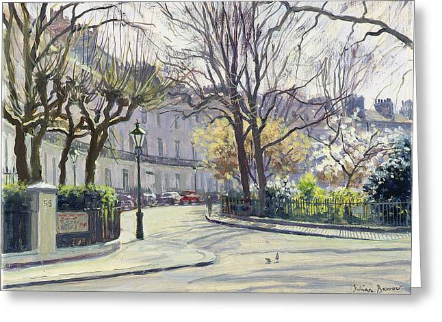 Spring Street Greeting Cards - Egerton Crescent, London Oil On Canvas Greeting Card by Julian Barrow