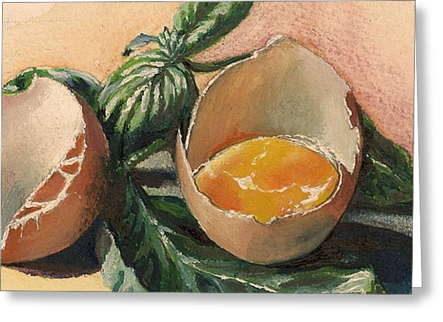 Painted Recipes Greeting Cards - Egg and Basil Greeting Card by Alessandra Andrisani