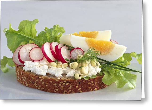 Low-calorie Greeting Cards - Egg and cottage cheese salad on bread Greeting Card by Science Photo Library