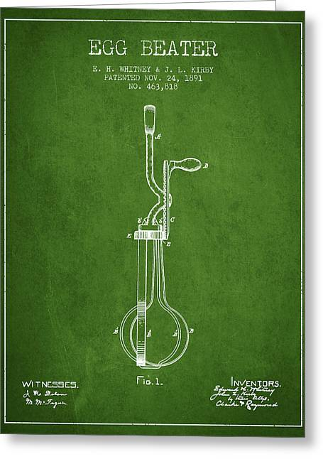 Kitchen Utensils Greeting Cards - Egg Beater patent from 1891 - Green Greeting Card by Aged Pixel