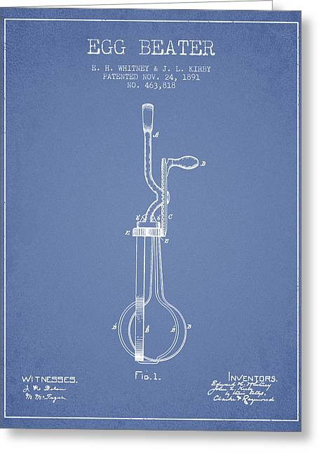Kitchen Utensils Greeting Cards - Egg Beater patent from 1891 - Light Blue Greeting Card by Aged Pixel
