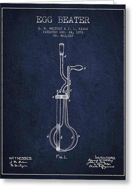 Kitchen Utensils Greeting Cards - Egg Beater patent from 1891 - Navy Blue Greeting Card by Aged Pixel