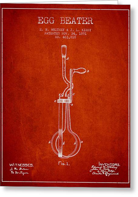 Kitchen Utensils Greeting Cards - Egg Beater patent from 1891 - Red Greeting Card by Aged Pixel