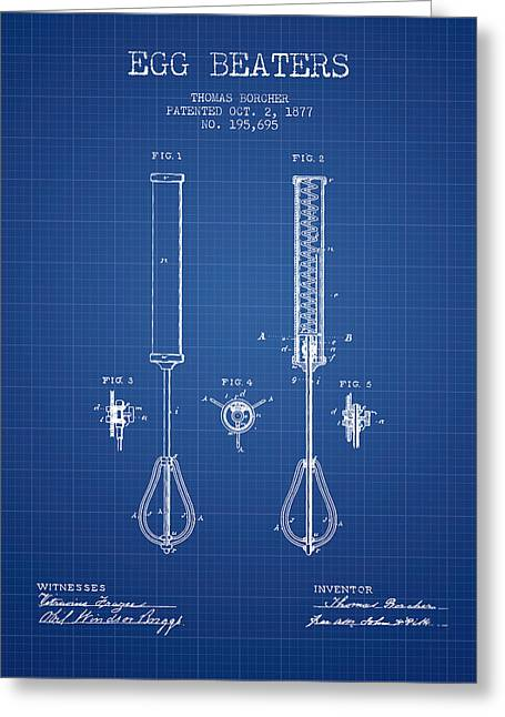 Kitchen Utensils Greeting Cards - Egg Beaters patent from 1877 - Blueprint Greeting Card by Aged Pixel