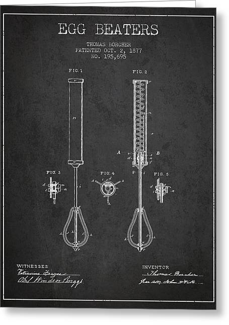 Kitchen Utensils Greeting Cards - Egg Beaters patent from 1877 - Dark Greeting Card by Aged Pixel