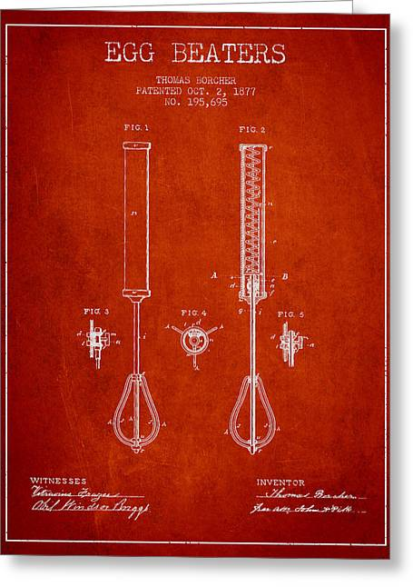 Kitchen Utensils Greeting Cards - Egg Beaters patent from 1877 - Red Greeting Card by Aged Pixel