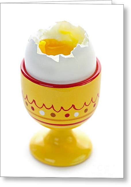 Cracked Eggs Greeting Cards - Egg in cup Greeting Card by Elena Elisseeva