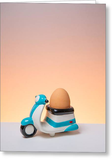 Funny Scooter Greeting Cards - You Egg Has Arrived Greeting Card by John Hickson