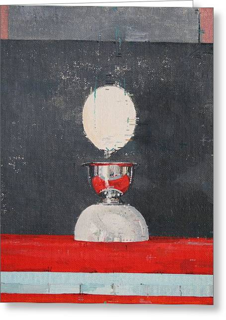 Egg-cup Greeting Cards - Egg Over Red And Black Greeting Card by Charlie Millar