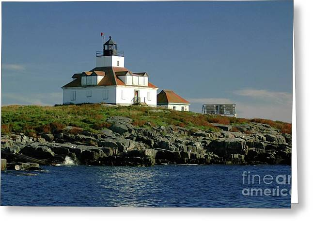 Maine Lighthouses Greeting Cards - Egg Rock Lighthouse Greeting Card by Kathleen Struckle