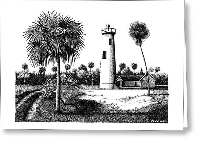 Pen And Ink Framed Prints Greeting Cards - Eggmont Key Lighthouse  Greeting Card by Buzz Coe