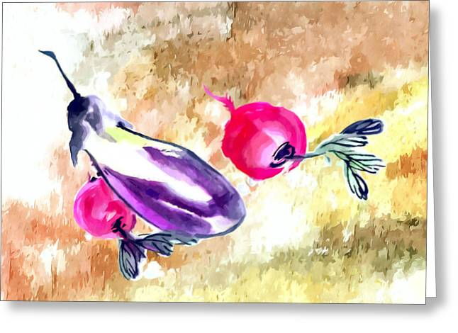 Organic Greeting Cards - Eggplant and sweet potato Greeting Card by Lanjee Chee