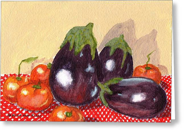 Checked Tablecloths Paintings Greeting Cards - Eggplant and Tomatoes Greeting Card by Patricia Ann Rizzo