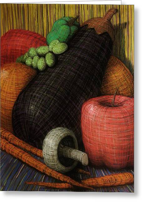 Life Line Pastels Greeting Cards - Eggplant Greeting Card by John Sekela