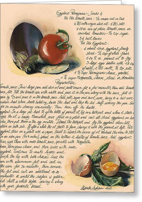 Painted Recipes Greeting Cards - Eggplant Parmigiana Greeting Card by Alessandra Andrisani