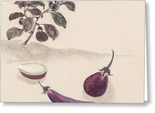 Vegetable Digital Art Greeting Cards - Eggplants Greeting Card by Aged Pixel