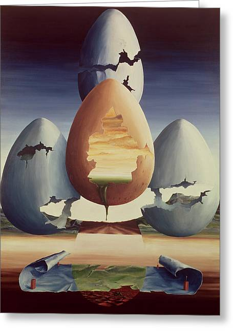 Cracked Eggs Greeting Cards - Eggs, 1971 Oil On Canvas Greeting Card by Trevor Neal