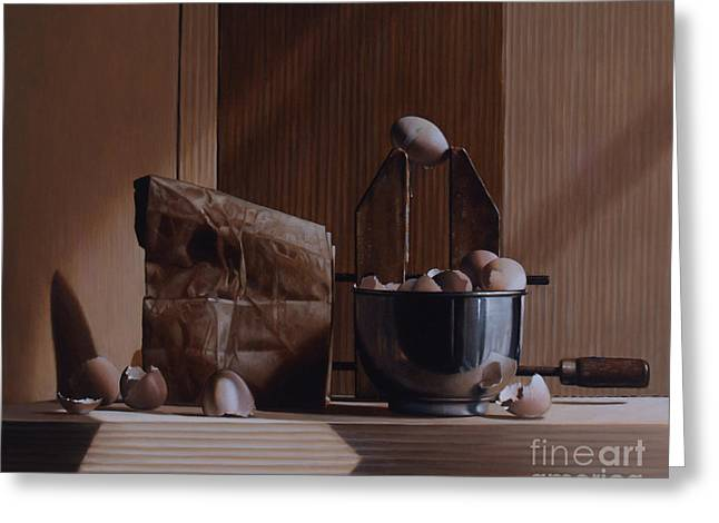 Clamps Greeting Cards - Eggs And Cardboard Greeting Card by Larry Preston