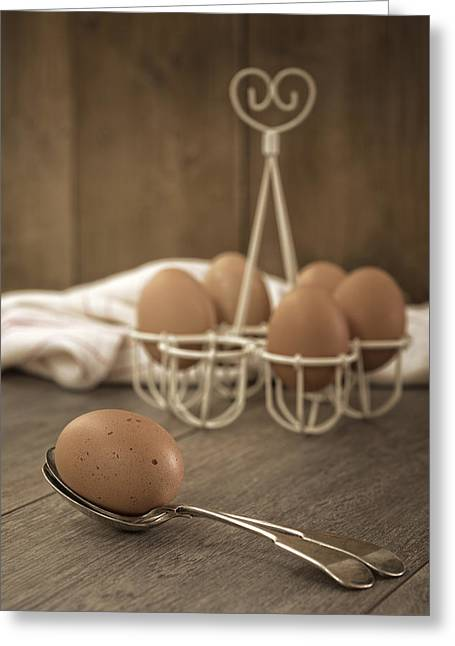 Kitchen Table Greeting Cards - Eggs Greeting Card by Amanda And Christopher Elwell