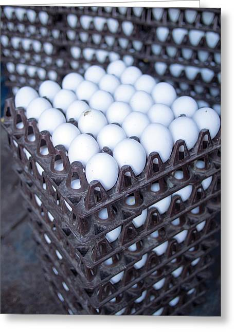 Eggs Get Stacked In Crates Greeting Card by David H. Wells