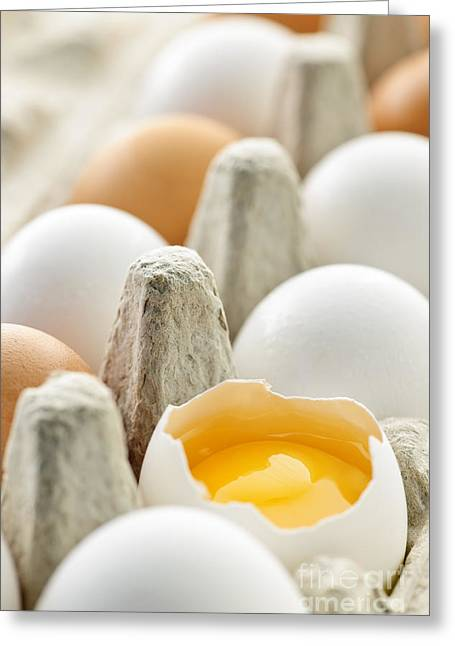 Cracked Photographs Greeting Cards - Eggs in box Greeting Card by Elena Elisseeva