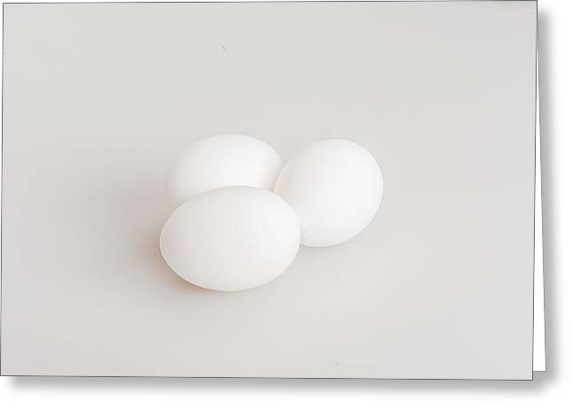 Chicken On Eggs Greeting Cards - Eggs Isolated on a White Background Greeting Card by Joel  Bourgoin