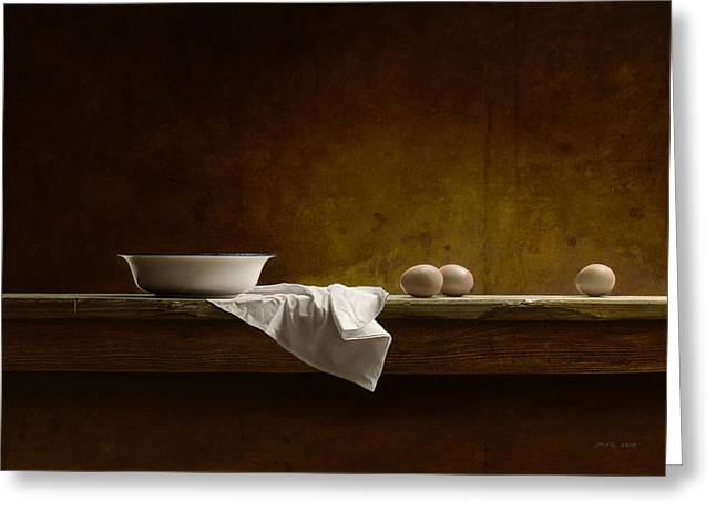 Old Masters Greeting Cards - Eggs on a Table Greeting Card by Mark Van crombrugge